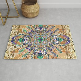 Ornate Tan Blue and Green Mandala Magic Carpet Rug
