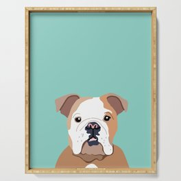 Bulldog art print - bulldog gift, bulldog decor, bulldog lover, cute bulldog, dog portrait Serving Tray