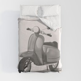 Vintage Scooter black and white Duvet Cover
