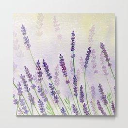 Lavender Flowers Watercolor Metal Print