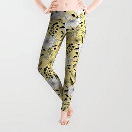 Florals line art pattern Leggings