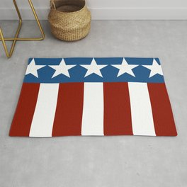 Red White Blue Patriotic Abstract Design Rug
