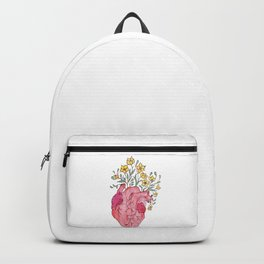 Floral Heart Wood Watercolor Painting Backpack