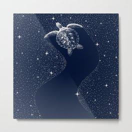 Starry Turtle Metal Print
