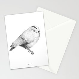 Goldcrest (Regulus regulus) - grey Stationery Cards