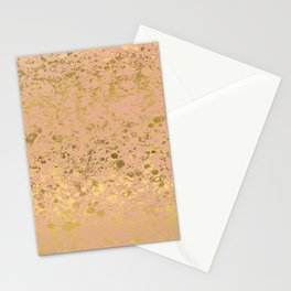 Nougat Gold and Gold Patina Design Stationery Cards