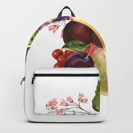 Composition of realistic fruits on a white background in vintage style. Apples, raspberries, plums, Backpack