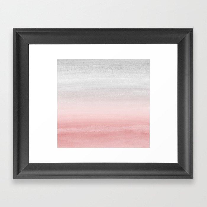 Touching Blush Gray Watercolor Abstract #1 #painting #decor #art #society6 Gerahmter Kunstdruck