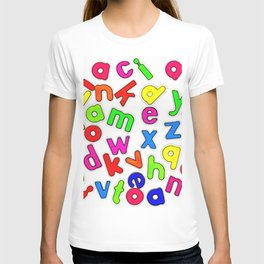 Jumbled up Multi Coloured Letters T-shirt