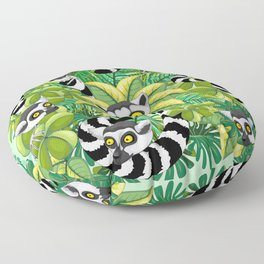 Lemurs on Madagascar Rainforest Floor Pillow