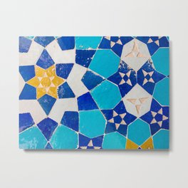 Colorful mosaic tiles in the desert city of Yazd, Iran | Travel photography Middle East Metal Print