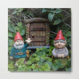 Welcome Gnome Metal Print
