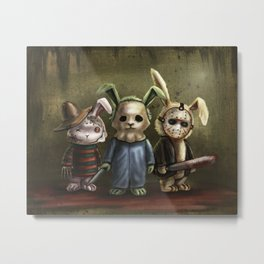 Horror Bunnies - Parody of Jason, Freddy and Michael Myers Metal Print