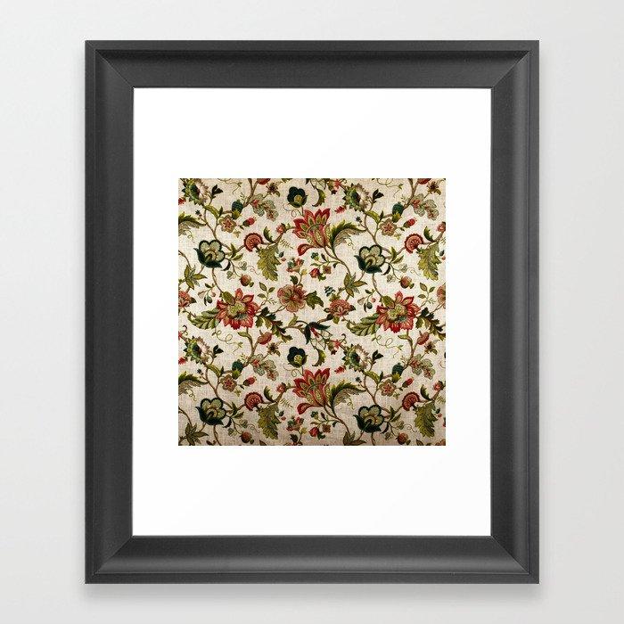 Red Green Jacobean Floral Embroidery Pattern Gerahmter Kunstdruck