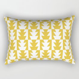 Art Deco Jagged Edge Pattern Mustard Yellow Rectangular Pillow