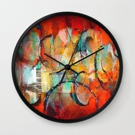 African American Masterpiece 'Harlem, Jazz Musicians' by J. Robinson Wall Clock