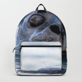 Watercolor Harbor Seal 01, Reykjarfjörður Iceland, Seen Any Fish Around These Parts? Backpack