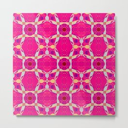 Pink Groove Retro Classic Psychedelica Geometric Metal Print