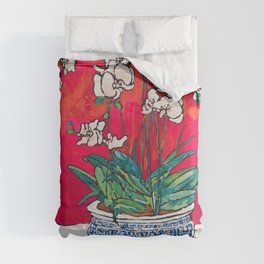 Orchid in Chinoiserie Bird Pot on Pink, Coral and Red Background Floral Still Life Painting Matisse Comforters