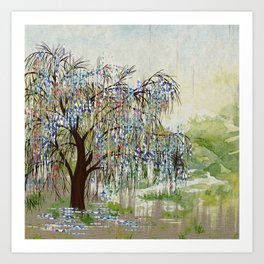 Willow Tree Abstract digital art  composition Art Print