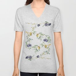 Olive Tree Branches and Black and Green Olives Unisex V-Neck