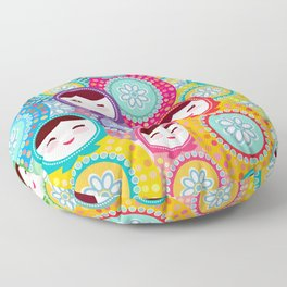 Russian dolls matryoshka, pink blue green colors colorful bright pattern Floor Pillow
