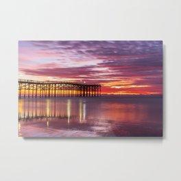Moody November Beach Sunset (purple, red) Metal Print