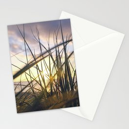 Sun light is coming through green grass in the sun set with sea in the behind and cloudy sky Stationery Cards