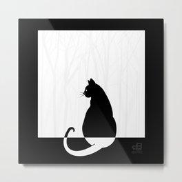 Cat Pondering Nature - Square Metal Print