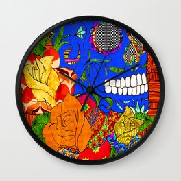Sugar skull and roses and wood grain Wall Clock