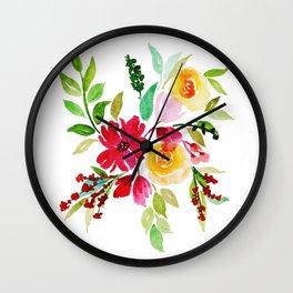 Beautiful Watercolor Floral Element Wall Clock