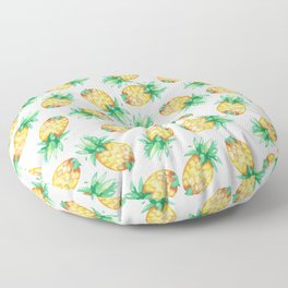 Tropical sunshine yellow green watercolor pineapple Floor Pillow