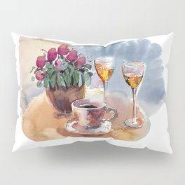Romantic meeting. Round table of a street cafe with a cup of coffee, liqueur and flowers in a pot  Pillow Sham