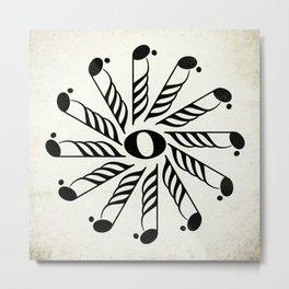 Vignette music note mandala Metal Print