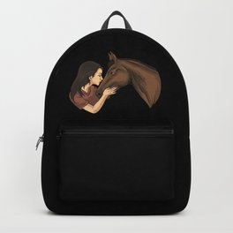 Girl Kissing A Horse Backpack