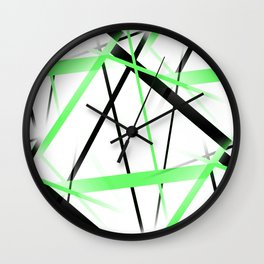 Criss Crossed Lime and Black Stripes on White Wall Clock
