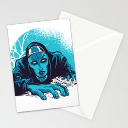 Dark creepy nun Stationery Cards