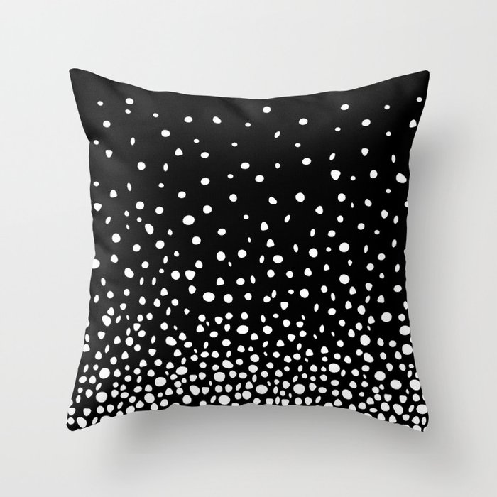 Black Throw Pillow With White Rain Dot Pattern