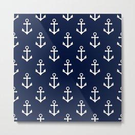 Navy Blue Nautical Anchor Pattern Metal Print