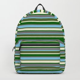 Vibrant Grey, Sky Blue, Dark Olive Green, Beige, and Dark Green Colored Lined/Striped Pattern Backpack