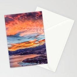 Sunset Pano // Beautiful Rocky Mountain Lake View Colorado Red Orange Sky Stationery Cards