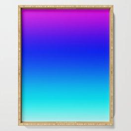 Multicolor gradient pink blue aqua white Serving Tray