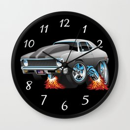 Classic American Muscle Car Hot Rod Cartoon Wall Clock