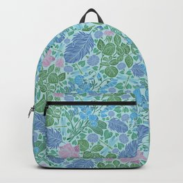 Blue feathers with pink roses and dragonflie on blue background Backpack