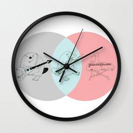Keytar Platypus Venn Diagram Gray Blue Pink Wall Clock