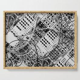 analog synthesizer  - diagonal black and white illustration Serving Tray