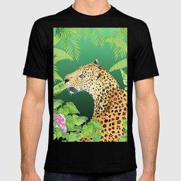 Leopard in Jungle, Greens Background T-shirt
