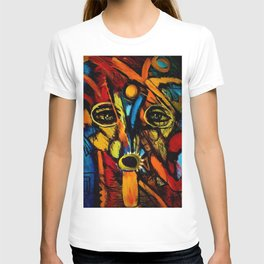 Indigenous Inca Tribesmen in full headdress portrait painting by Ortega Maila T-shirt