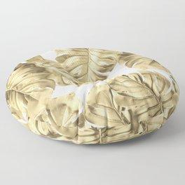 Gold Monstera Leaves on White 2 Floor Pillow