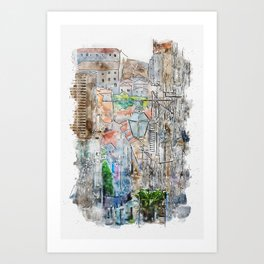 Aquarelle sketch art. Old streets of old city in south of Croatia, Dubrovnik Art Print